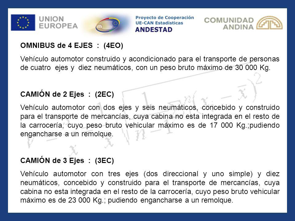 OMNIBUS de 4 EJES : (4EO) Vehículo automotor construido y acondicionado para el transporte de personas de cuatro ejes y diez neumáticos, con un peso b