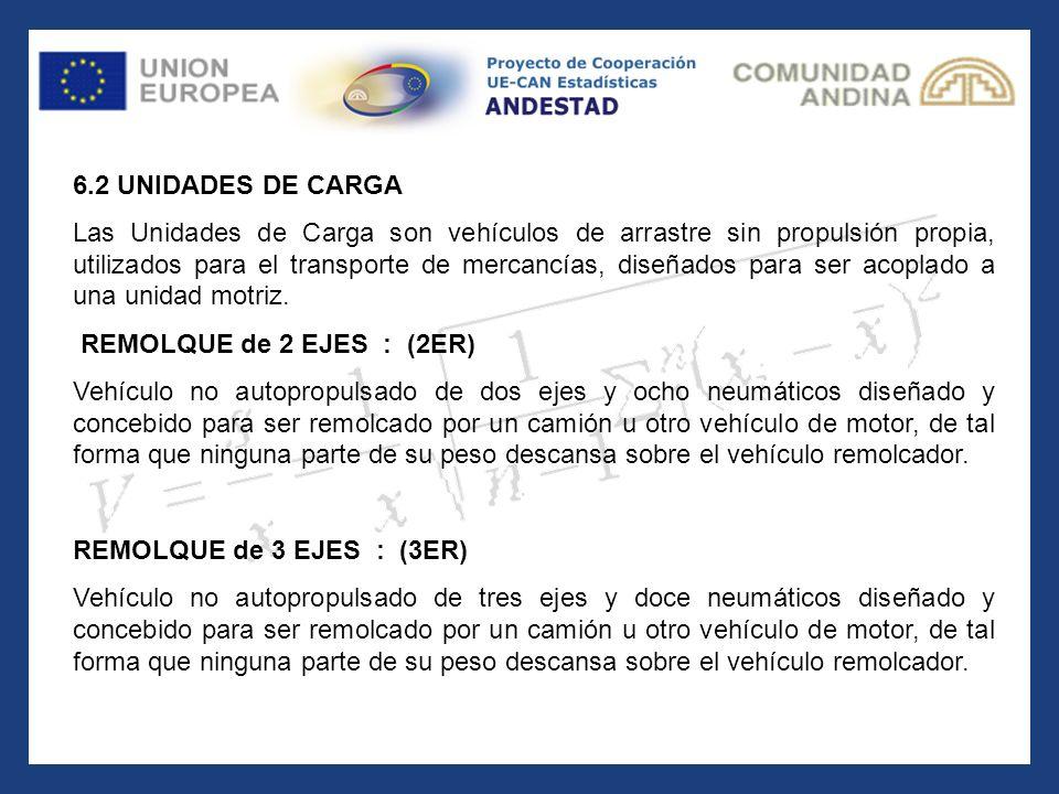 6.2 UNIDADES DE CARGA Las Unidades de Carga son vehículos de arrastre sin propulsión propia, utilizados para el transporte de mercancías, diseñados pa