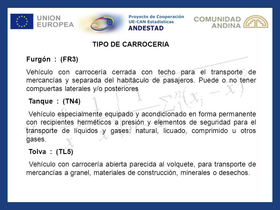 Furgón : (FR3) Vehículo con carrocería cerrada con techo para el transporte de mercancías y separada del habitáculo de pasajeros. Puede o no tener com
