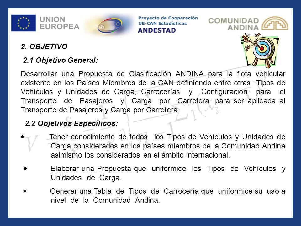 2. OBJETIVO 2.1 Objetivo General: Desarrollar una Propuesta de Clasificación ANDINA para la flota vehicular existente en los Países Miembros de la CAN