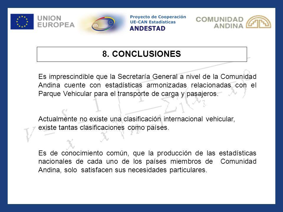 8. CONCLUSIONES Es imprescindible que la Secretaría General a nivel de la Comunidad Andina cuente con estadísticas armonizadas relacionadas con el Par