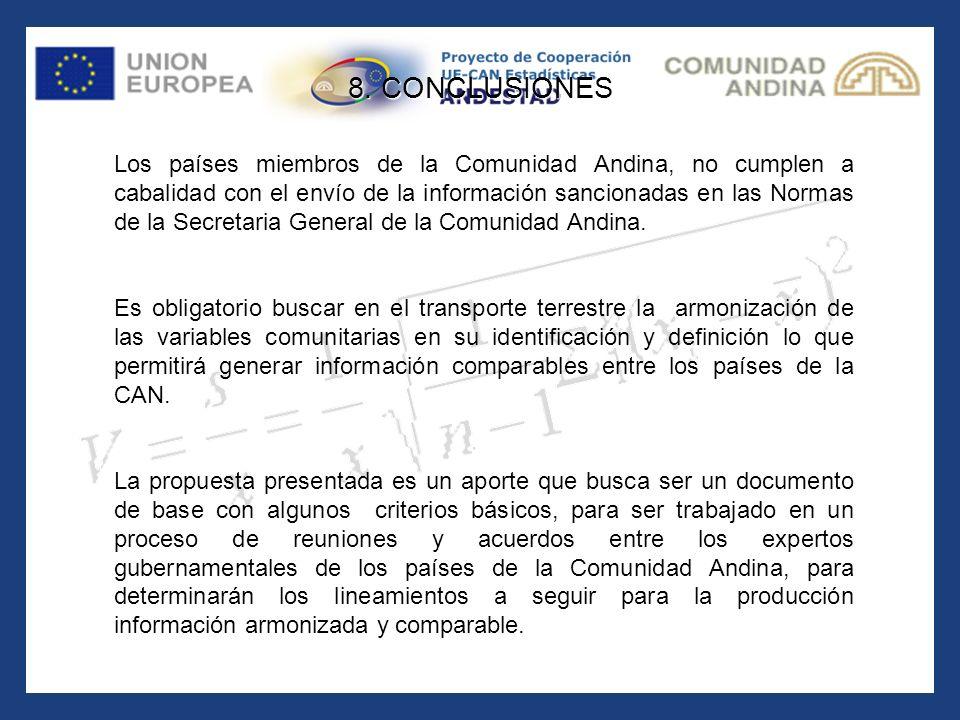 Los países miembros de la Comunidad Andina, no cumplen a cabalidad con el envío de la información sancionadas en las Normas de la Secretaria General d