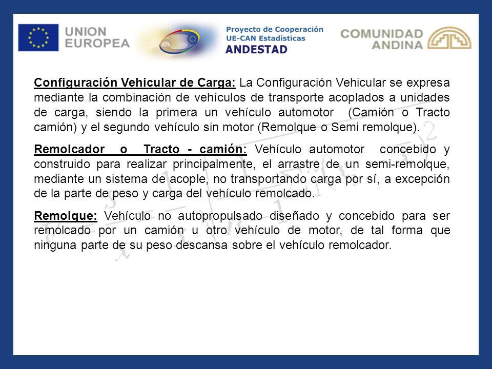 Configuración Vehicular de Carga: Configuración Vehicular de Carga: La Configuración Vehicular se expresa mediante la combinación de vehículos de tran