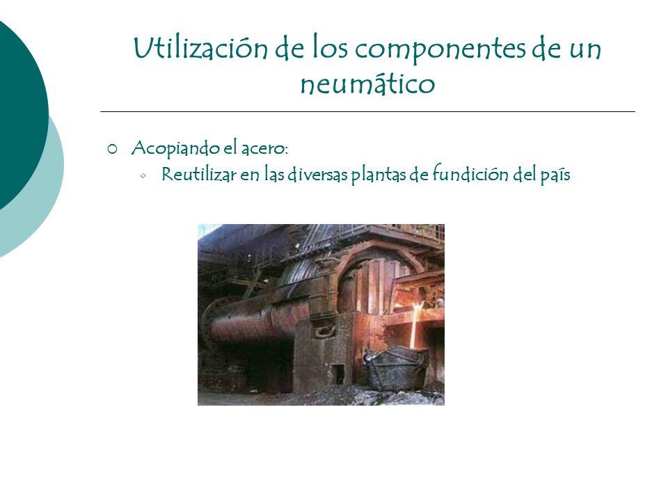 Utilización de los componentes de un neumático Acopiando el acero: Reutilizar en las diversas plantas de fundición del país