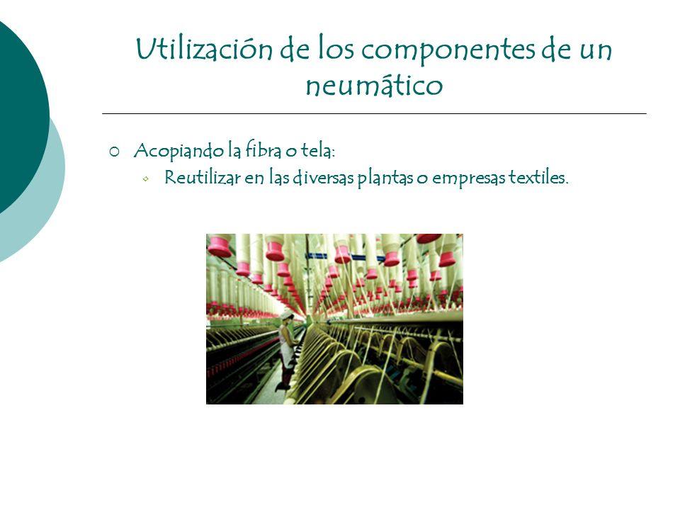 Utilización de los componentes de un neumático Acopiando la fibra o tela: Reutilizar en las diversas plantas o empresas textiles.
