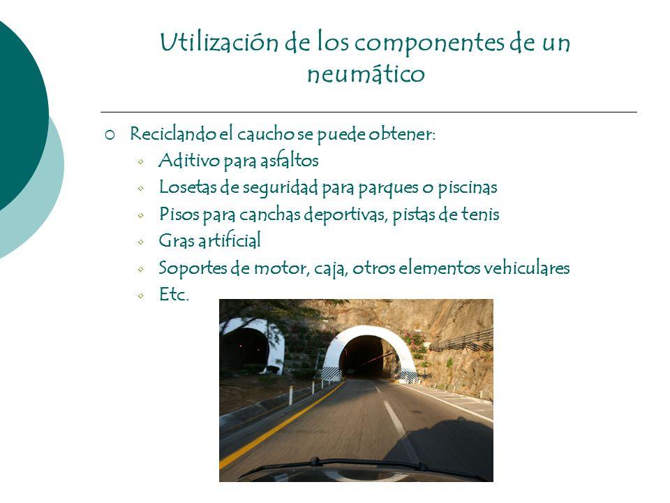 Utilización de los componentes de un neumático Reciclando el caucho se puede obtener: Aditivo para asfaltos Losetas de seguridad para parques o piscin