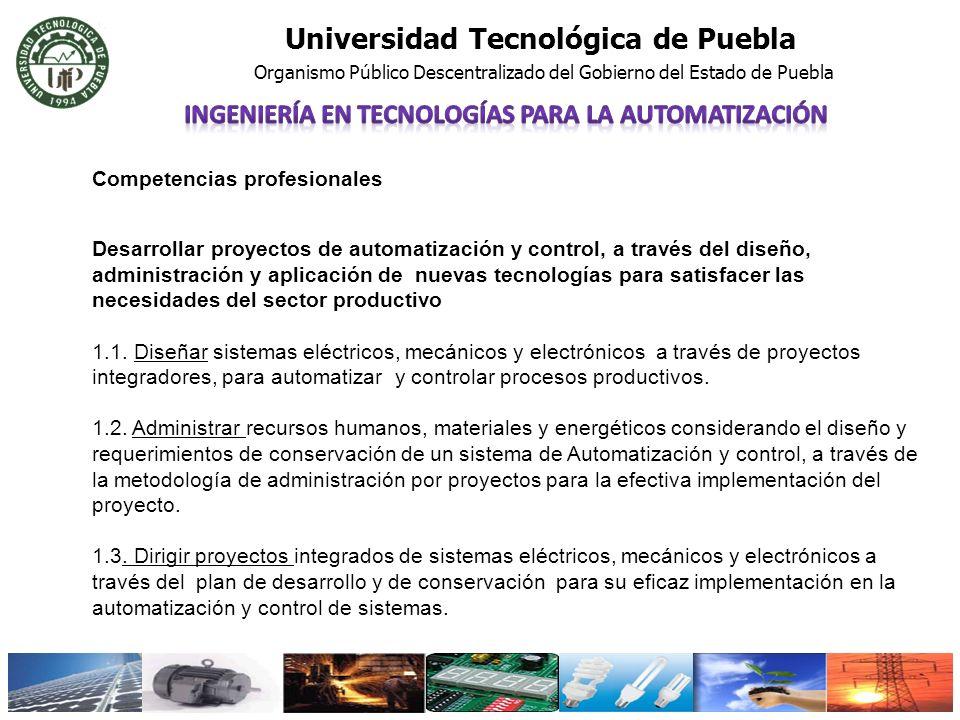 Universidad Tecnológica de Puebla Organismo Público Descentralizado del Gobierno del Estado de Puebla Competencias profesionales Desarrollar proyectos