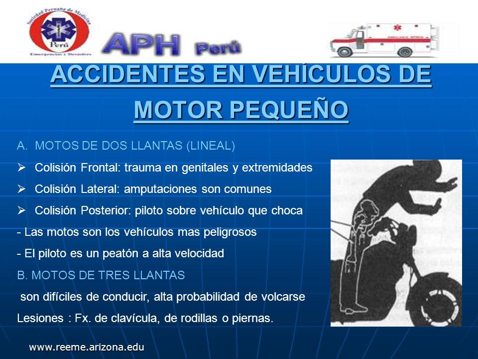 www.reeme.arizona.edu ACCIDENTES EN VEHÍCULOS DE MOTOR PEQUEÑO A.MOTOS DE DOS LLANTAS (LINEAL) Colisión Frontal: trauma en genitales y extremidades Co