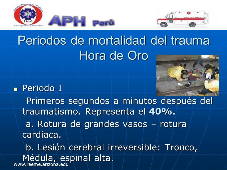 www.reeme.arizona.edu Periodos de mortalidad del trauma Hora de Oro Periodo I Periodo I Primeros segundos a minutos después del traumatismo. Represent