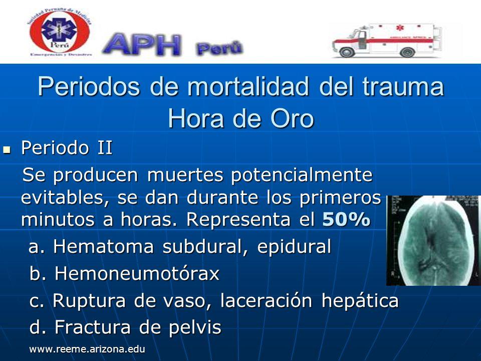 www.reeme.arizona.edu Periodos de mortalidad del trauma Hora de Oro Periodo II Periodo II Se producen muertes potencialmente evitables, se dan durante