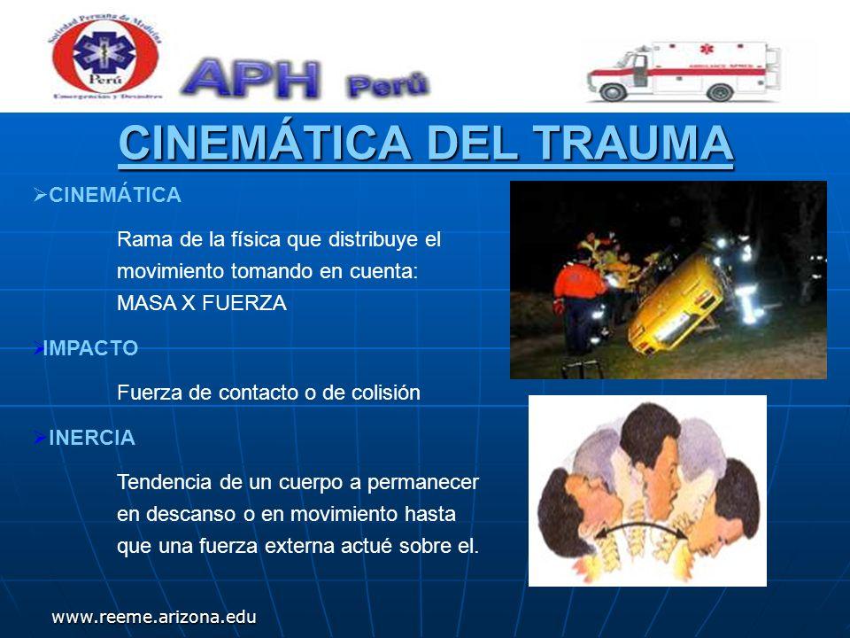 www.reeme.arizona.edu Periodos de mortalidad del trauma Hora de Oro Periodo II Periodo II Se producen muertes potencialmente evitables, se dan durante los primeros minutos a horas.