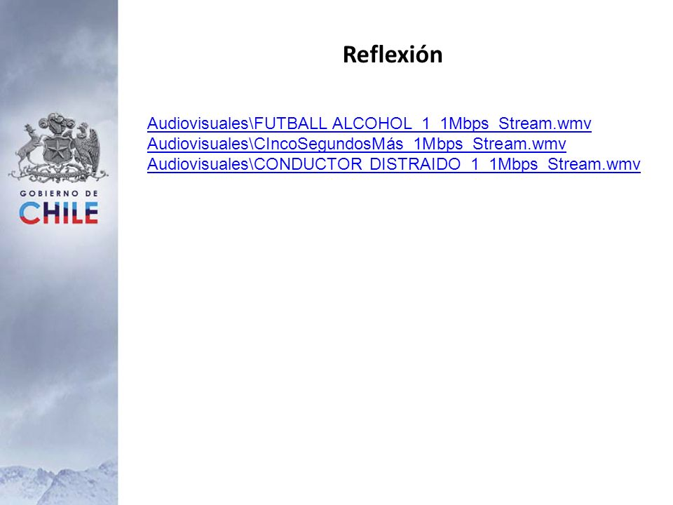 Reflexión Audiovisuales\FUTBALL ALCOHOL_1_1Mbps_Stream.wmv Audiovisuales\CIncoSegundosMás_1Mbps_Stream.wmv Audiovisuales\CONDUCTOR DISTRAIDO_1_1Mbps_S