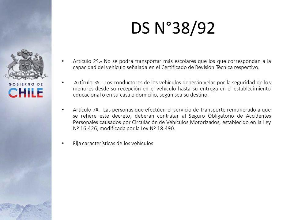 DS N°38/92 Artículo 2º.- No se podrá transportar más escolares que los que correspondan a la capacidad del vehículo señalada en el Certificado de Revi