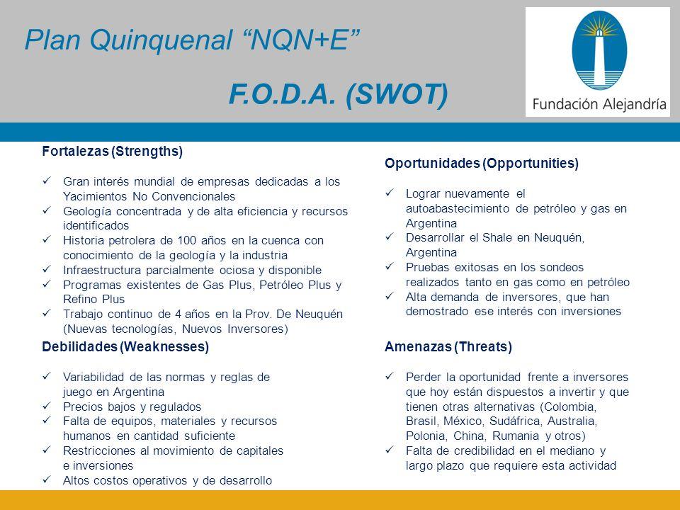 Plan Quinquenal NQN+E Fortalezas (Strengths) Gran interés mundial de empresas dedicadas a los Yacimientos No Convencionales Geología concentrada y de