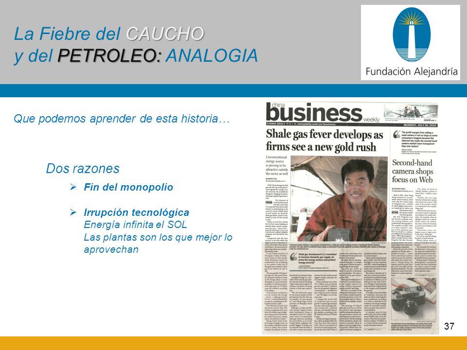 37 CAUCHO PETROLEO: La Fiebre del CAUCHO y del PETROLEO: ANALOGIA Dos razones Fin del monopolio Irrupción tecnológica Energía infinita el SOL Las plan