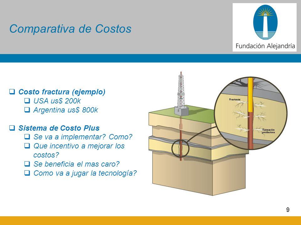 9 Comparativa de Costos Costo fractura (ejemplo) USA us$ 200k Argentina us$ 800k Sistema de Costo Plus Se va a implementar? Como? Que incentivo a mejo