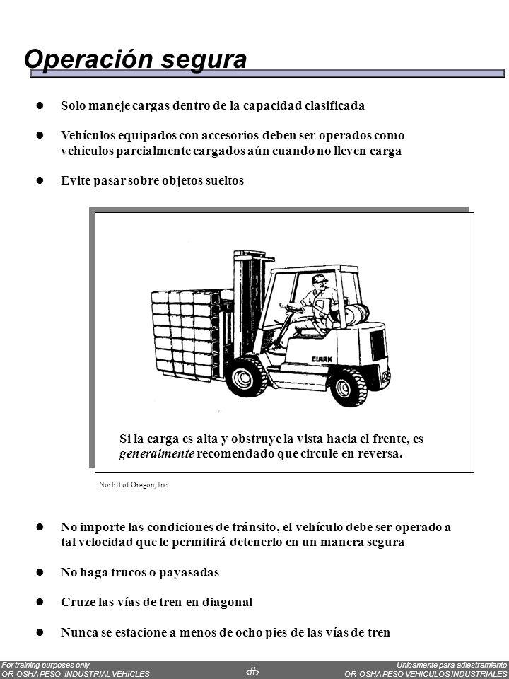 Unicamente para adiestramiento OR-OSHA PESO VEHICULOS INDUSTRIALES For training purposes only OR-OSHA PESO INDUSTRIAL VEHICLES 59 Operación segura Sol