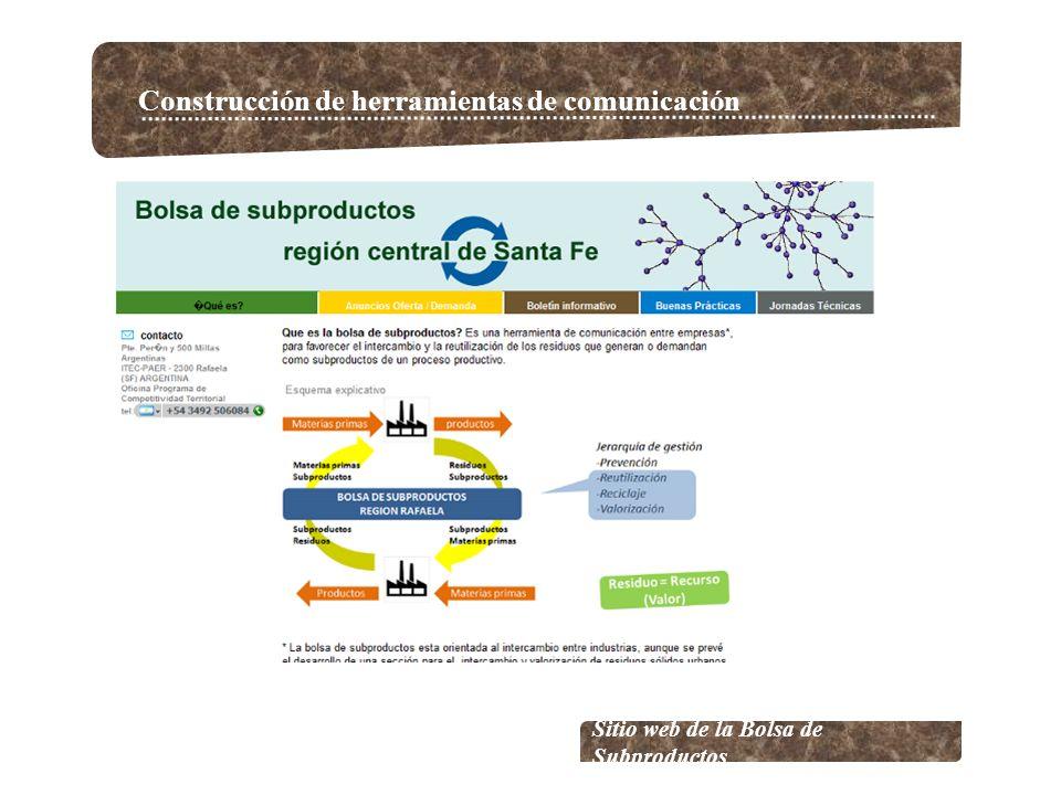 Construcción de herramientas de comunicación Sitio web de la Bolsa de Subproductos