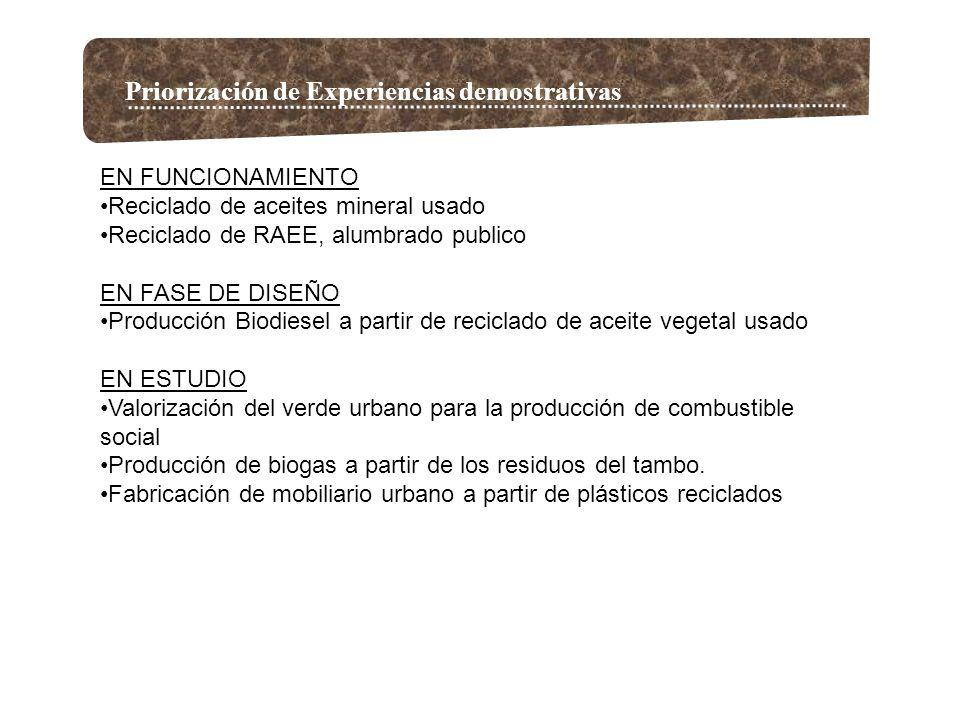 Priorización de Experiencias demostrativas EN FUNCIONAMIENTO Reciclado de aceites mineral usado Reciclado de RAEE, alumbrado publico EN FASE DE DISEÑO