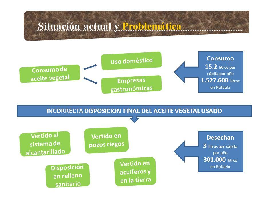Situación actual y Problemática Consumo de aceite vegetal Empresas gastronómicas Uso doméstico Consumo 15.2 litros per cápita por año 1.527.600 litros