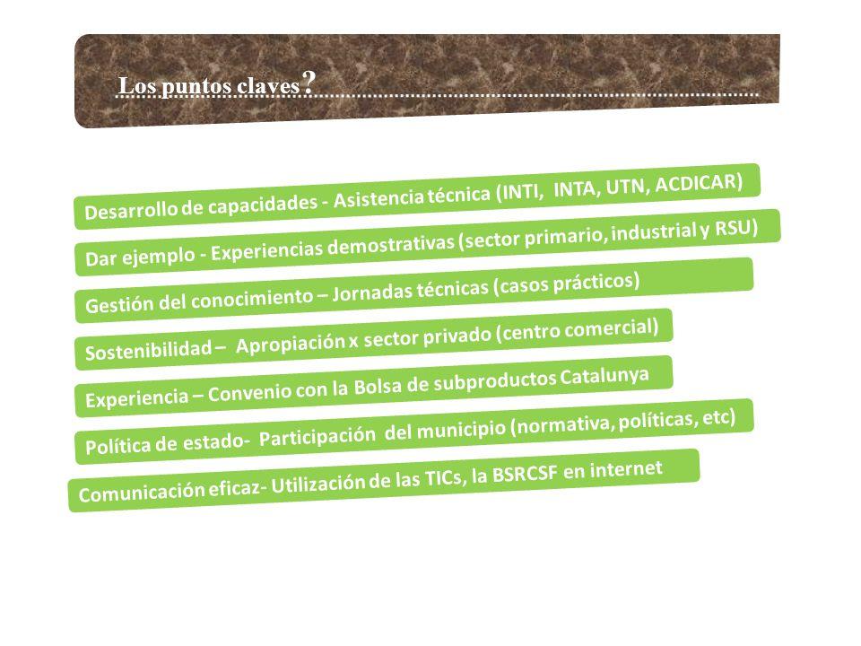 Primeras acciones: Relevamiento de subproductos Químicos Plásticos Metales Papel y Cartón Maderas Textiles Goma y Caucho Vidrio Cuero y Pieles Residuos de animales y vegetales Productos petrolíferos y aceites Chatarra y escoria de siderurgia Envases y Embalajes Varios