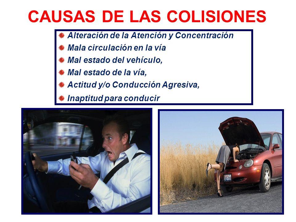 CAUSAS DE LOS CHOQUES Adelantamiento incorrecto Vías de circulación congestionadas Falta de señalización No respetar la señalización No respetar las p