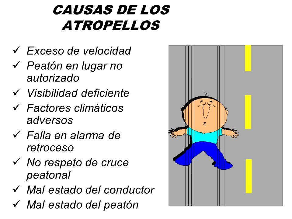 ATROPELLO Vehículo impacta a persona. Conductor no ve a la persona ó la ve demasiado tarde Sus consecuencias pueden ser graves ó fatales