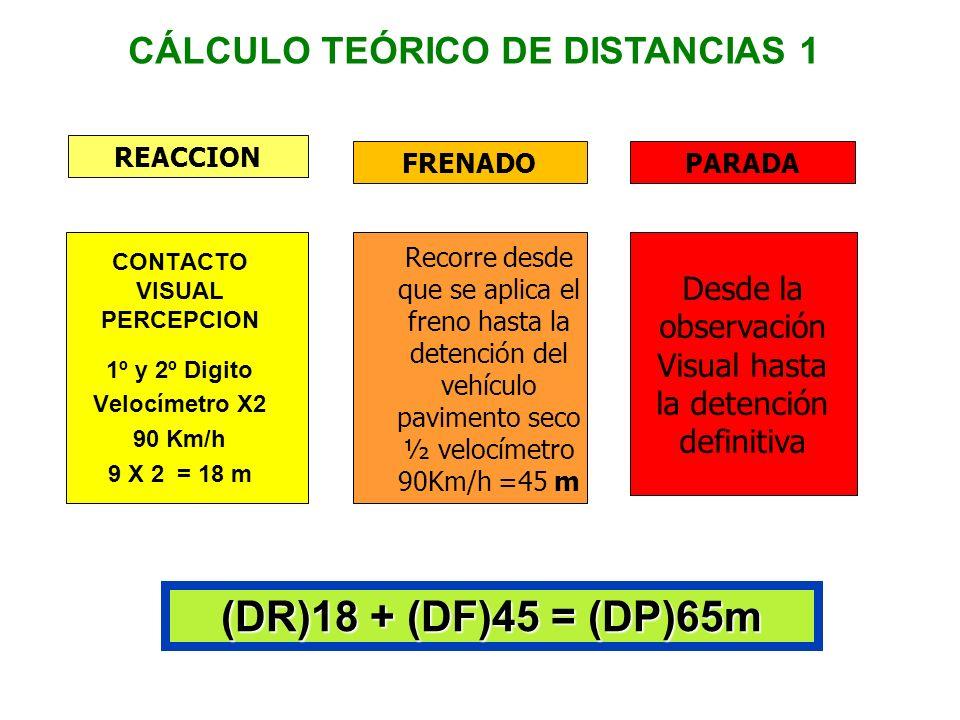 Entonces si Ud. está viajando a 50km/h y se da cuenta de un peligro, la distancia total de parada será: Distancia de Distancia de Distancia de Reacció