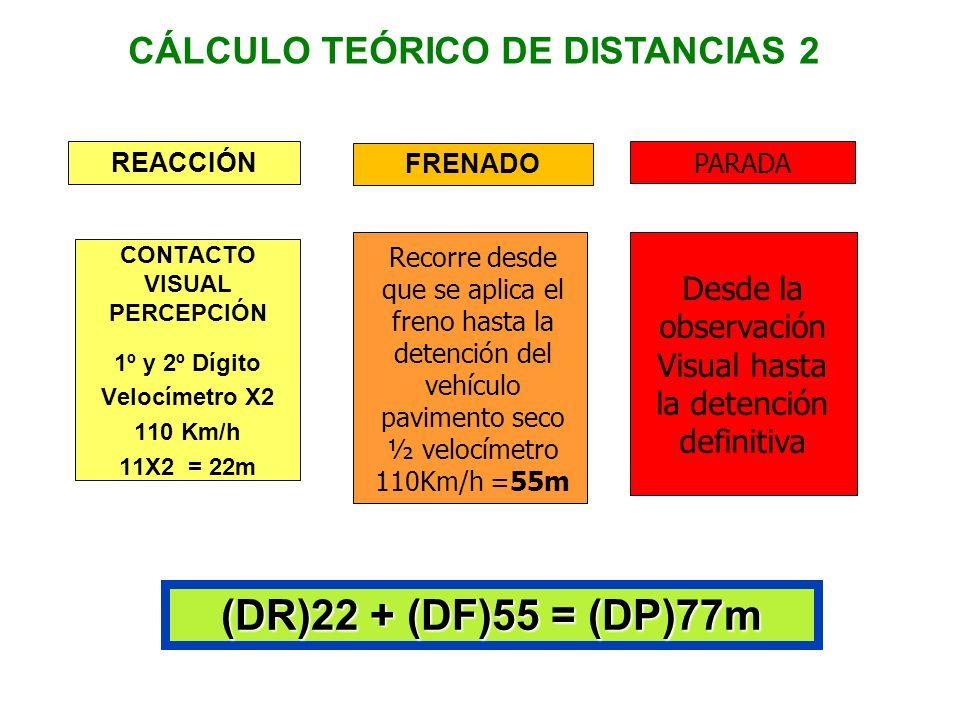 REACCION CONTACTO VISUAL PERCEPCION 1º y 2º Digito Velocímetro X2 90 Km/h 9 X 2 = 18 m FRENADO Recorre desde que se aplica el freno hasta la detención