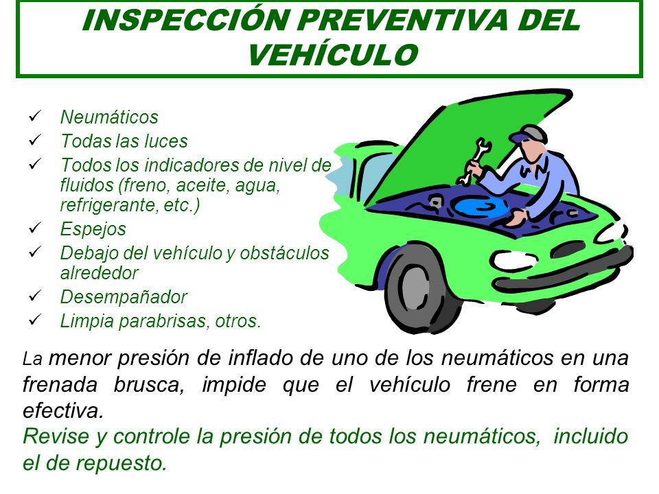 PREVENCIÓN EN EL VEHÍCULO Tal como el conductor, los vehículos deben estar en óptimo estado de operatividad. El conductor debe realizar la inspección