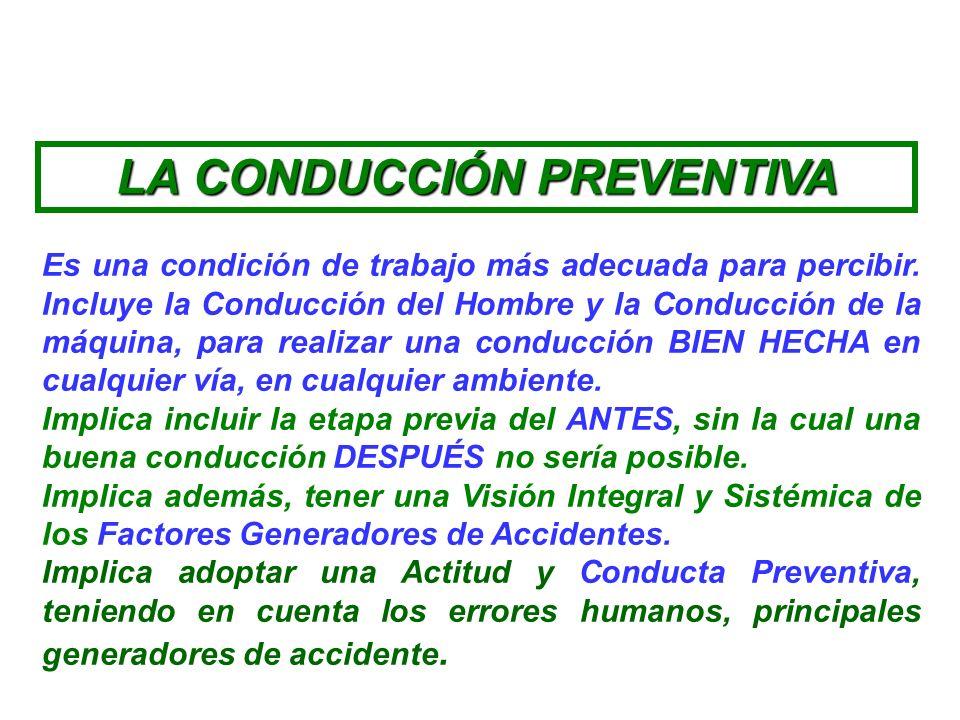 La Conducción Preventiva es un conjunto de técnicas encaminadas a PREVEER, PREVENIR PREDECIR y anticiparse los riesgos de la conducción en cualquier s