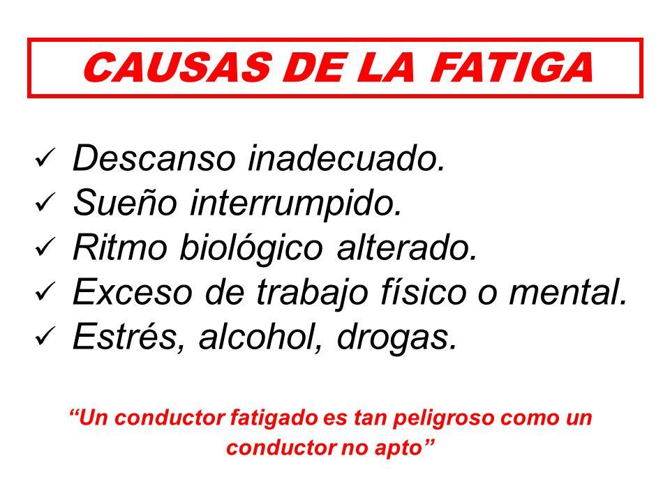 La Fatiga es una sensación de falta de energía, de agotamiento o de cansancio que hace inapto al conductor. Está asociada a los largos e inadecuados p
