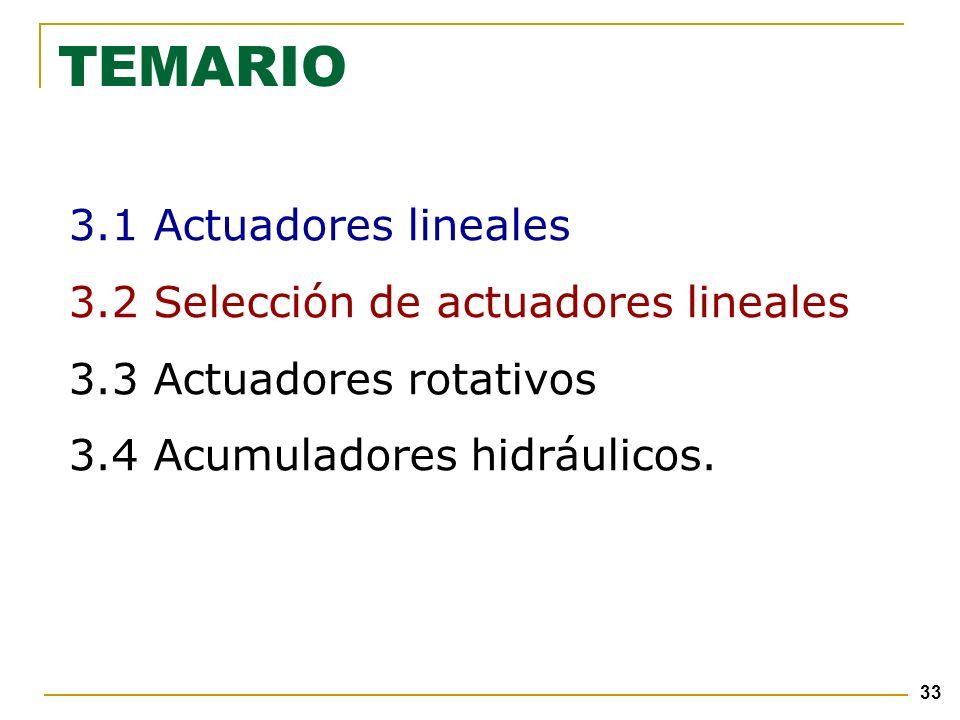 33 TEMARIO 3.1 Actuadores lineales 3.2 Selección de actuadores lineales 3.3 Actuadores rotativos 3.4 Acumuladores hidráulicos.