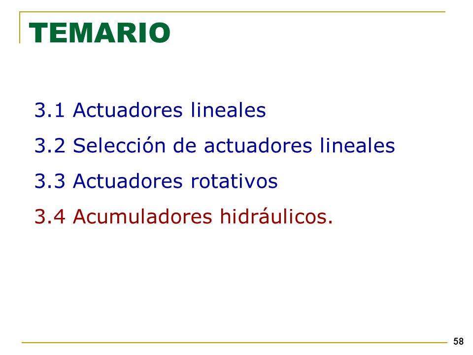 58 TEMARIO 3.1 Actuadores lineales 3.2 Selección de actuadores lineales 3.3 Actuadores rotativos 3.4 Acumuladores hidráulicos.