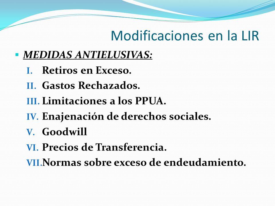 Modificaciones en la LIR MEDIDAS ANTIELUSIVAS: I.Retiros en Exceso.