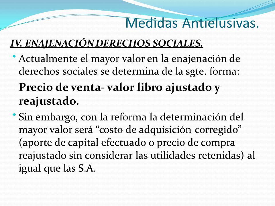 Medidas Antielusivas.IV. ENAJENACIÓN DERECHOS SOCIALES.