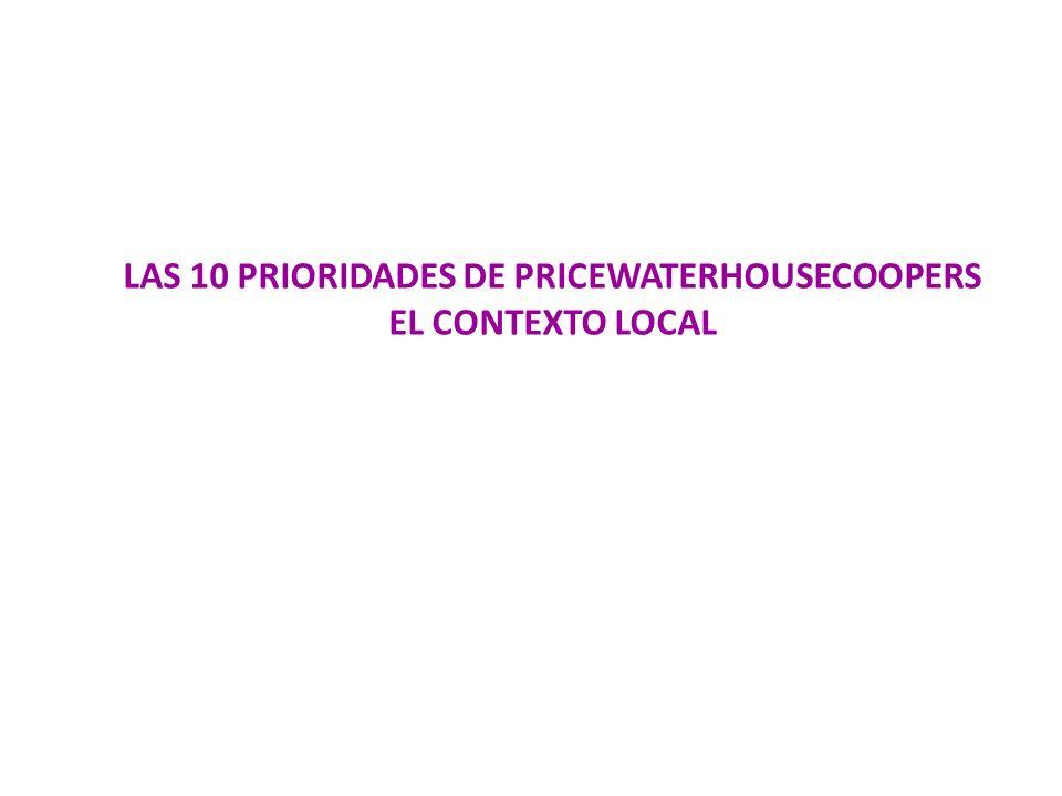 LAS 10 PRIORIDADES DE PRICEWATERHOUSECOOPERS EL CONTEXTO LOCAL