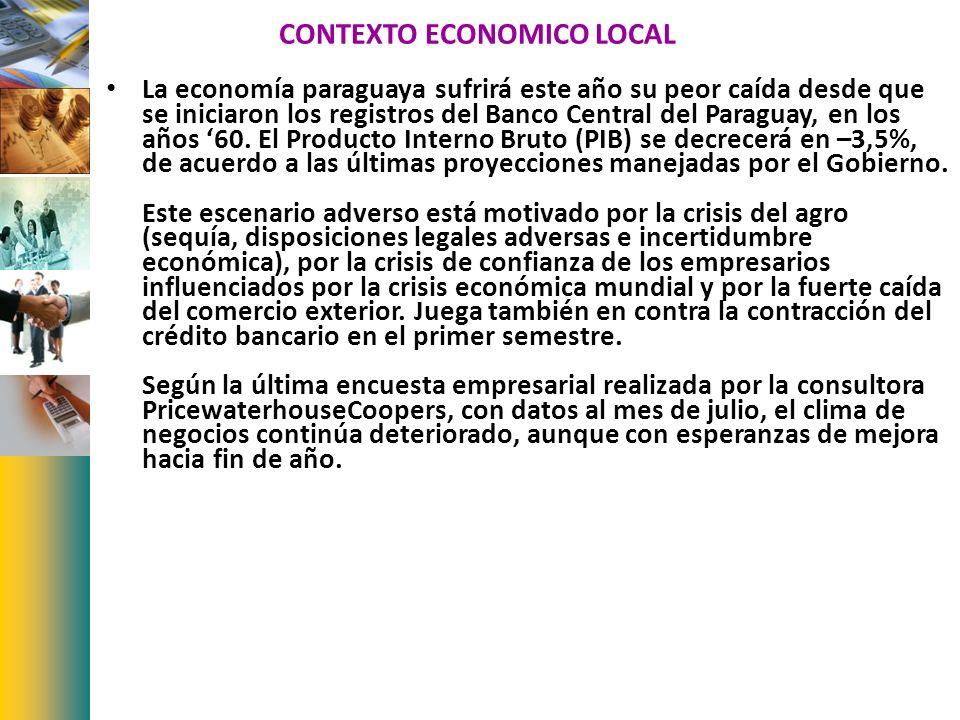CONTEXTO ECONOMICO LOCAL La economía paraguaya sufrirá este año su peor caída desde que se iniciaron los registros del Banco Central del Paraguay, en