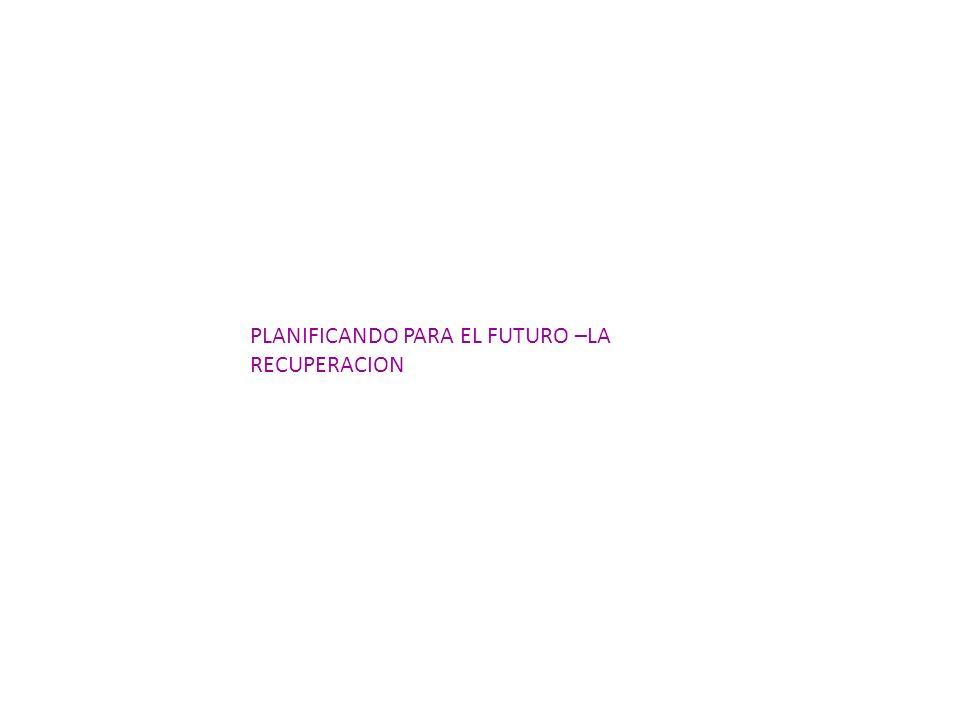 PLANIFICANDO PARA EL FUTURO –LA RECUPERACION
