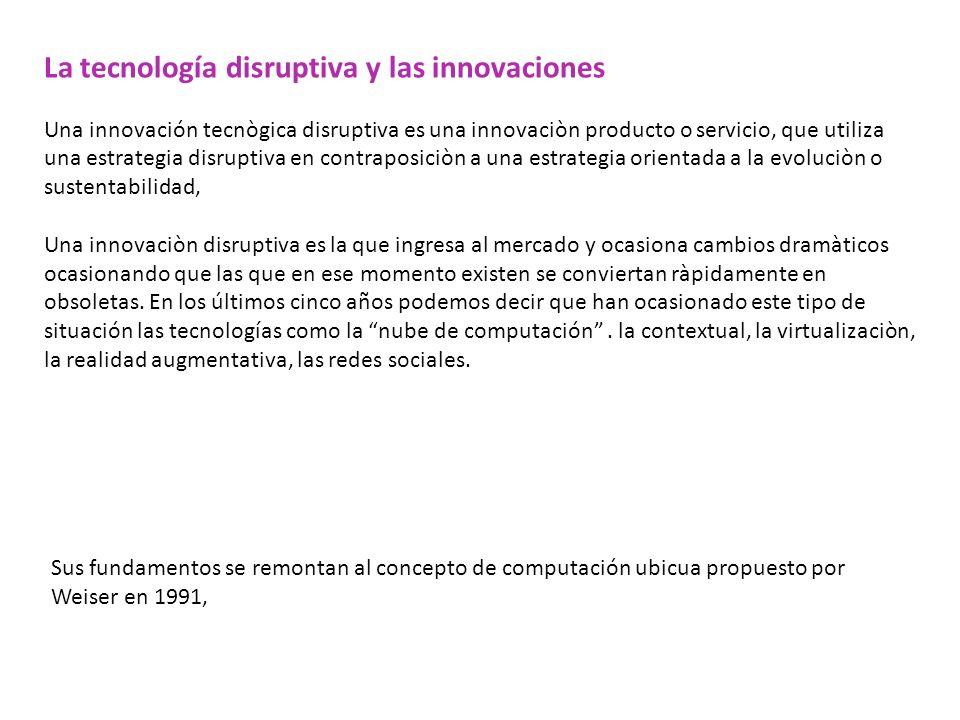 La tecnología disruptiva y las innovaciones Una innovación tecnògica disruptiva es una innovaciòn producto o servicio, que utiliza una estrategia disr