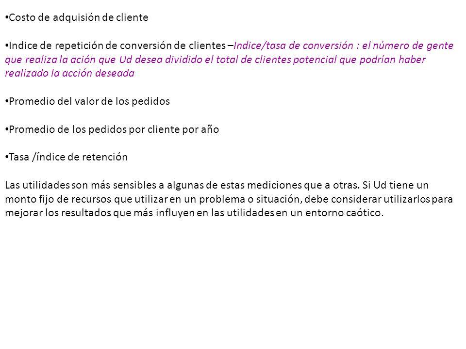 Costo de adquisión de cliente Indice de repetición de conversión de clientes –Indice/tasa de conversión : el número de gente que realiza la ación que