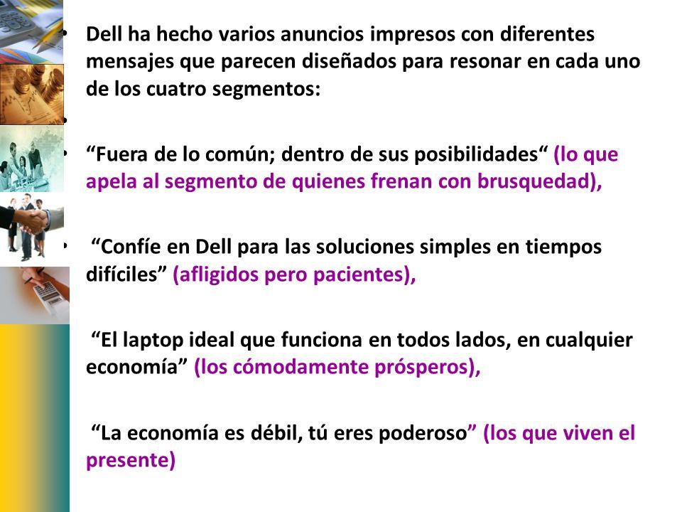 Dell ha hecho varios anuncios impresos con diferentes mensajes que parecen diseñados para resonar en cada uno de los cuatro segmentos: Fuera de lo com
