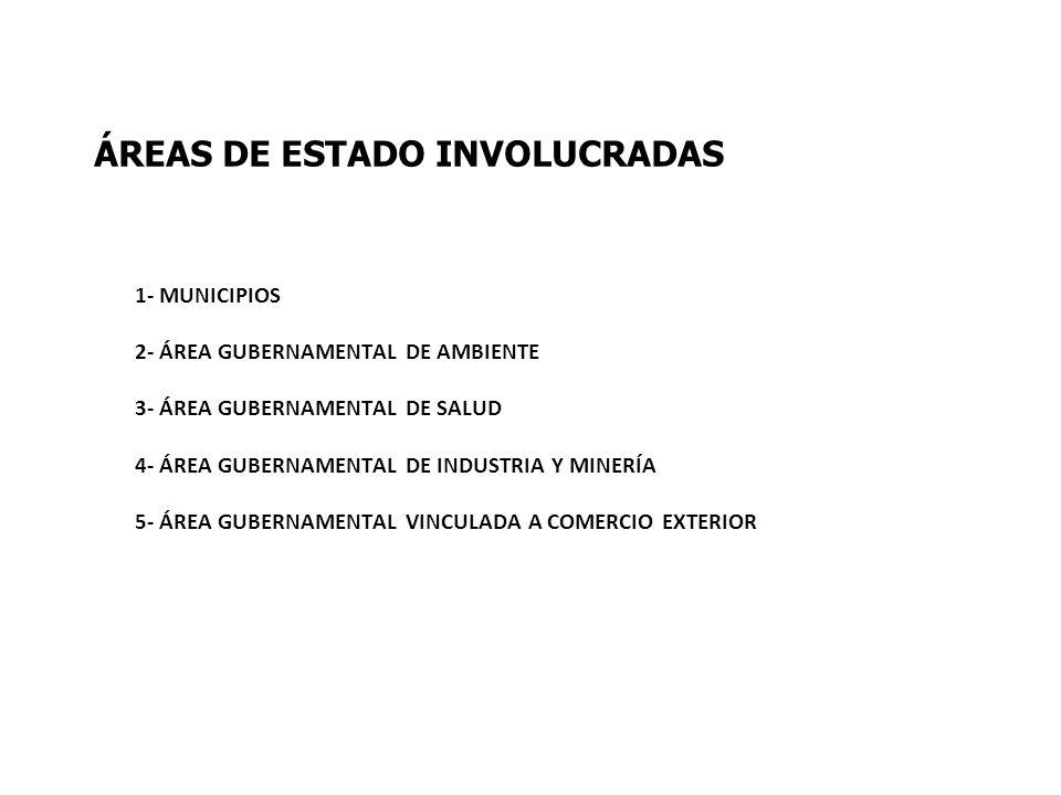 ÁREAS DE ESTADO INVOLUCRADAS 1- MUNICIPIOS 2- ÁREA GUBERNAMENTAL DE AMBIENTE 3- ÁREA GUBERNAMENTAL DE SALUD 4- ÁREA GUBERNAMENTAL DE INDUSTRIA Y MINER