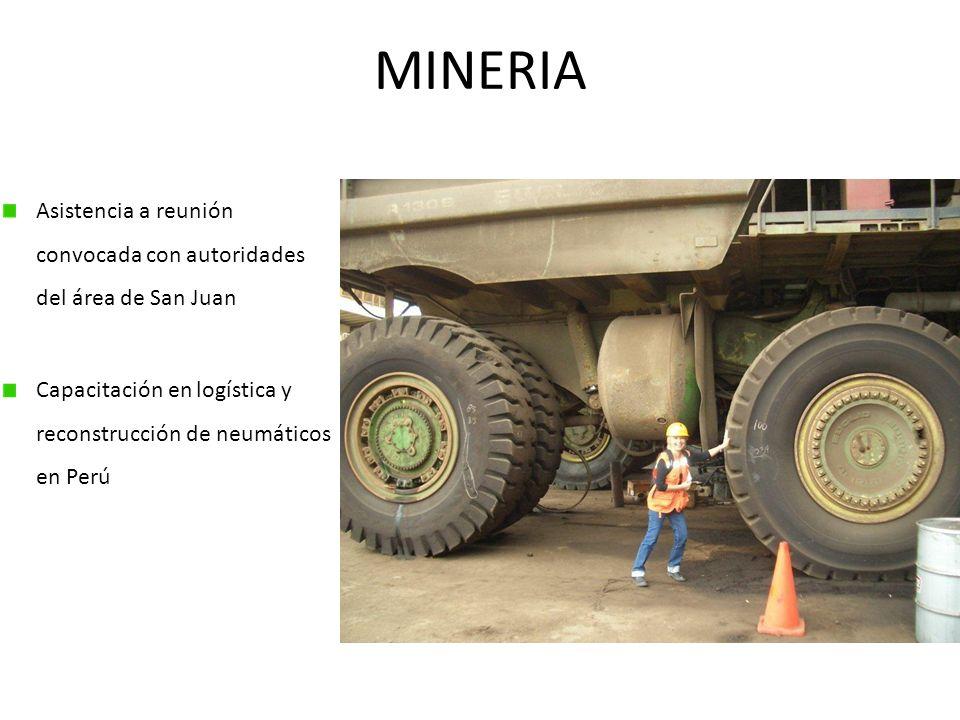 MINERIA Asistencia a reunión convocada con autoridades del área de San Juan Capacitación en logística y reconstrucción de neumáticos en Perú