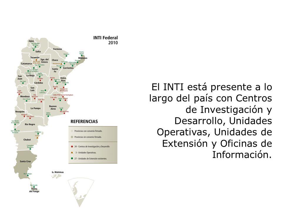 El INTI está presente a lo largo del país con Centros de Investigación y Desarrollo, Unidades Operativas, Unidades de Extensión y Oficinas de Informac