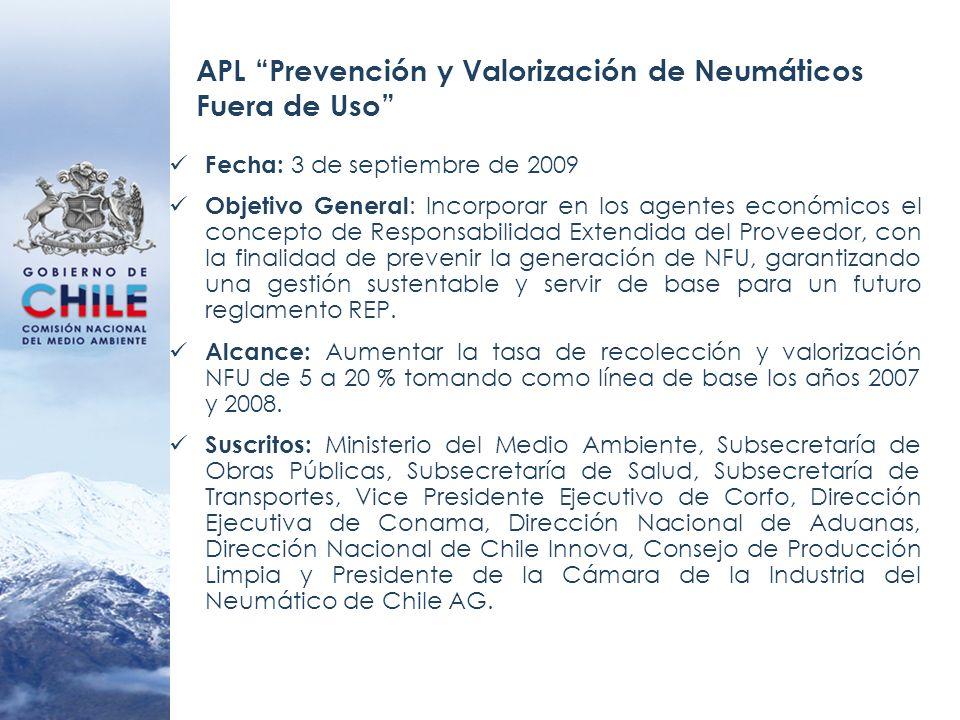 APL Prevención y Valorización de Neumáticos Fuera de Uso Fecha: 3 de septiembre de 2009 Objetivo General : Incorporar en los agentes económicos el con