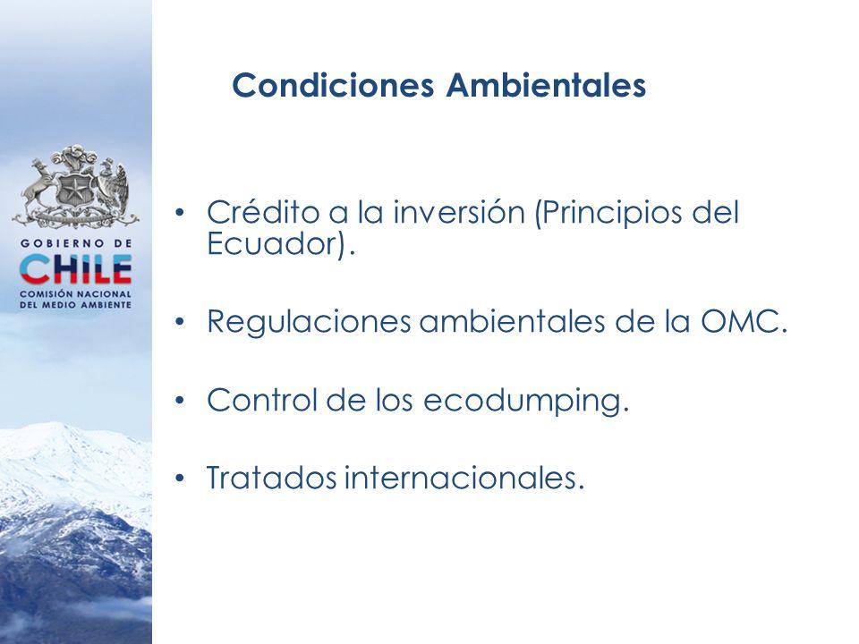 Condiciones Ambientales Crédito a la inversión (Principios del Ecuador). Regulaciones ambientales de la OMC. Control de los ecodumping. Tratados inter