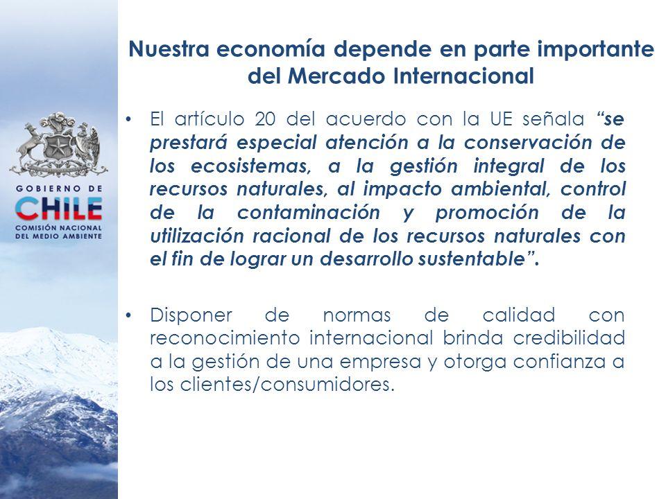 Nuestra economía depende en parte importante del Mercado Internacional El artículo 20 del acuerdo con la UE señala se prestará especial atención a la