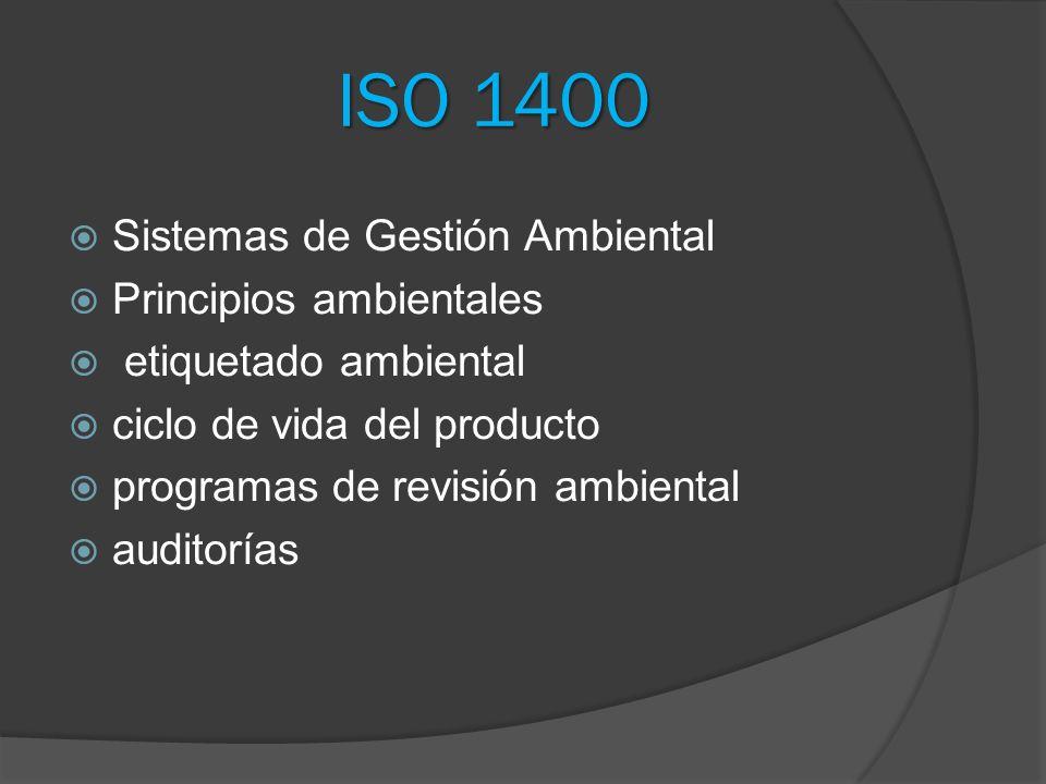 ISO 1400 Sistemas de Gestión Ambiental Principios ambientales etiquetado ambiental ciclo de vida del producto programas de revisión ambiental auditorí