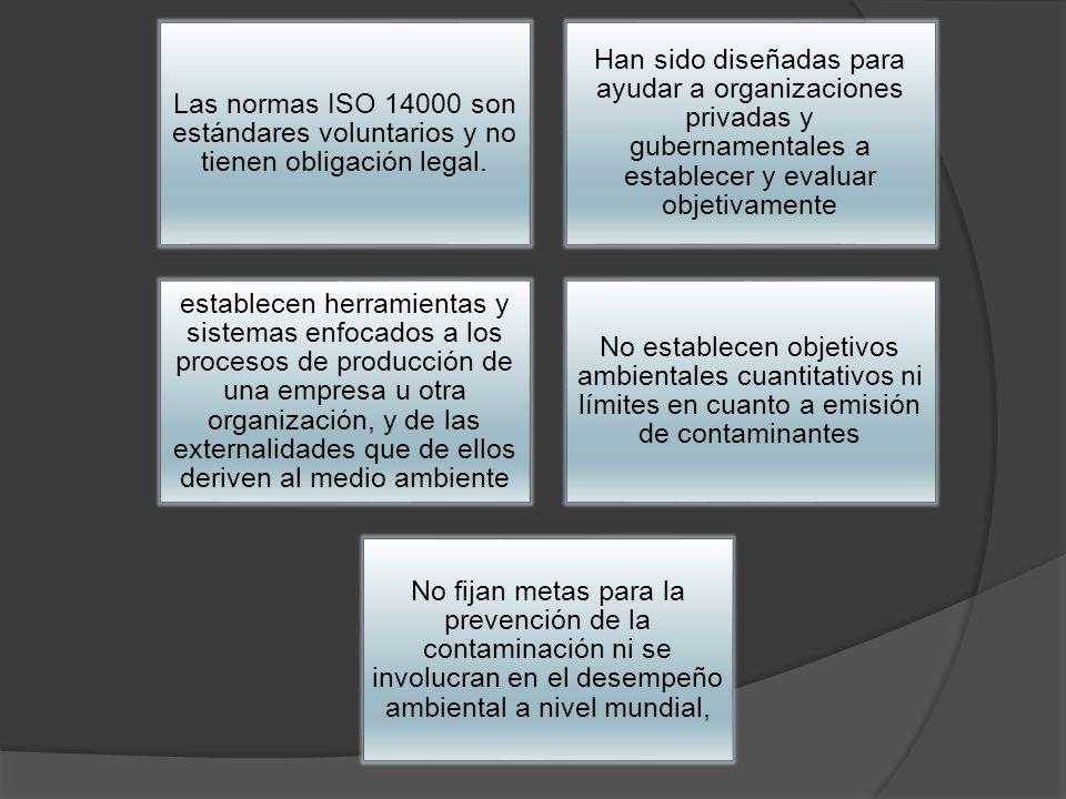 Las normas ISO 14000 son estándares voluntarios y no tienen obligación legal. Han sido diseñadas para ayudar a organizaciones privadas y gubernamental